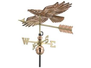 "19"" Polished Copper Soaring Hawk Bird Outdoor Weathervane with Arrow"