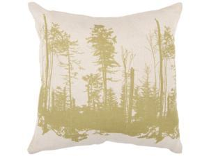 "18"" Moss Green and Parchment Forest Silhouette Decorative Throw Pillow"