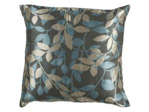 "22"" Teal, Gray and Cream Romantic Leaf Decorative Throw Pillow"