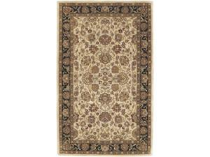 5' x 8' Floral Inspired Khaki Brown & Green Oriental-Style Wool Area Throw Rug