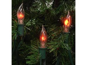 Set of 7 Flicker Flame Shape C18 Christmas Lights - Green Wire