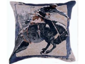 "17"" Western Rodeo Cowboy Decorative Tapestry Accent Throw Pillow"