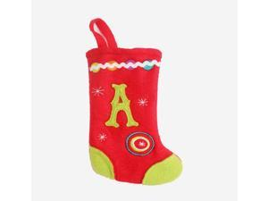 "6.25"" Red and Green Monogrammed ""A"" Mini Christmas Stocking"