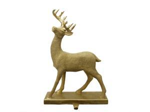 "15.5"" Embellished Gold Lodge Style Standing Deer Decorative Christmas Stocking Holder"