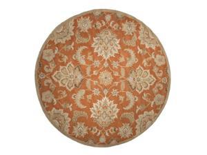 10' Sunset Orange, Banana Yellow, Tan and Coco Brown Abers Transitional Wool Round Area Throw Rug