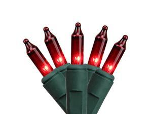 Set of 50 Red Everglow Mini Christmas Lights - Green Wire