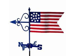 "24"" Handcrafted Red, White and Blue Patriotic American Flag Outdoor Weathervane with Garden Pole"