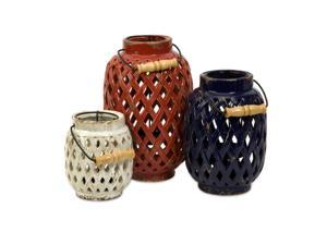 Set of 3 Patriotic Red, White and Blue Lattice Pattern Pillar Candle Lanterns