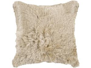 "22"" Soft & Shaggy Oyster Gray Decorative Down Throw Pillow"