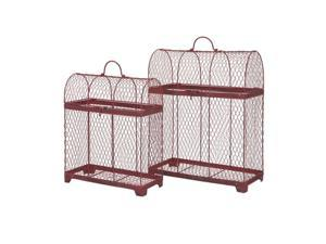 Set of 2 Good Luck Crimson Red Wire Decorative Bird Cages 20""