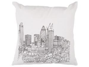 "18"" City Skyline Winter White and Black Decorative Down Throw Pillow"