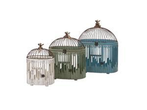 Set of 3 Isabella White Green and Blue Bird House Cage Decorations 24.5""