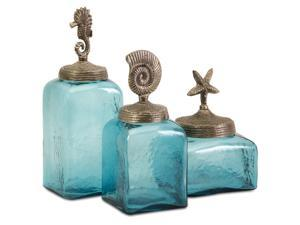 Set of 3 Ocean Blue Glass Canister Jars with Starfish, Seahorse and Shell Lids