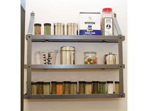 Steel & Black Wood Three Tier Spice Rack by Rogar