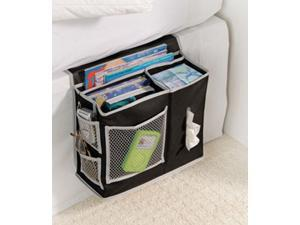 Black Black Bedside Caddy with Silver Mesh