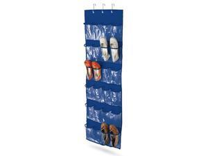 Honey Can Do 24 Pocket Over-Door Shoe Organizer, Polyester, Navy - SFT-01278