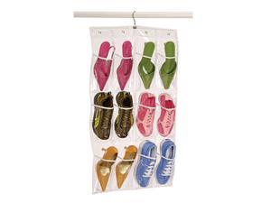 Clear 12 Pocket Shoe Caddy with Hanger