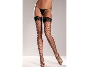 Spandex Fence Net Thigh Highs with Stay Up Lace Top