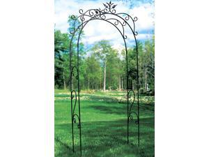 Graphite Powder Coat Finished Arbor with Floral Motif