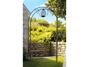 Wrought Iron Arbor w Pineapple Accent