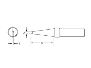 """.047"""" x .62"""" x 800° PT Series Conical Flat Tip for TC201 Series Iron"""