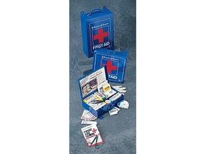 "Johnson & Johnson Standard First Aid Kit For 50 People - 10 1/2"" x 10 1/2"" x 2 3/8""(Blue)"