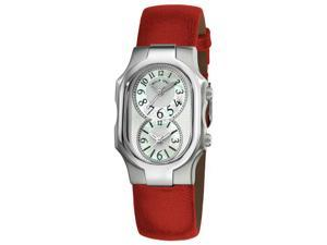 Philip Stein Signature Ladies Red Leather Strap Dual Time Watch 1-NFMOP-CPR
