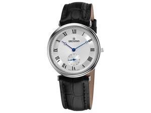 Grovana Mens Silver Dial Analog Black Strap Watch