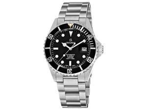 Grovana Mens Diver Black Dial Stainless Steel Watch
