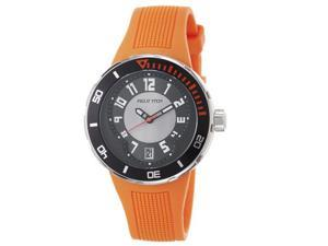 Men's Black and Grey Dial and Orange Rubber Strap Watch