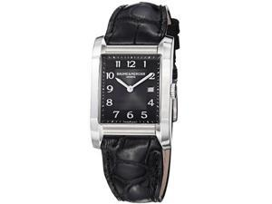 Baume & Mercier Mens Hampton Black Dial Black Leather Strap Watch MOA10019