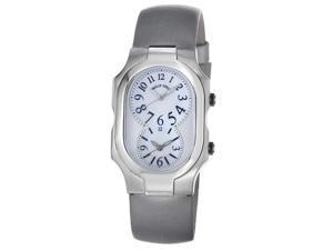 Philip Stein Womens Signature Platinum Silk Strap Dual Time Watch 2-NFMOP-IPL