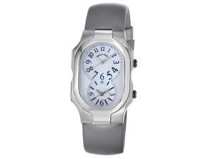 Philip Stein Womens Signature Platinum Silk Strap Dual Time Watch 2-NFMOP-IPL