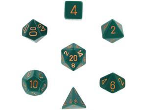 Polyhedral 7-Die Opaque Dice Set - Dusty Green with Copper