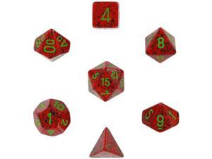 Polyhedral 7-Die Speckled Dice Set - Strawberry