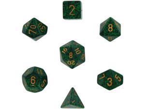 Polyhedral 7-Die Speckled Dice Set - Golden Recon