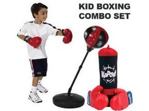 """Kids Authority Children Boxing set - Punching bag with gloves and adjustable 43"""" stand with also Punching Bag & Glove Set BOXING COMBO SET"""