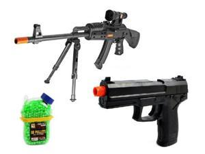 (COMBO) King P207 AK-47 Spring Airsoft Gun Folding Bi-Pod FPS-275 + Electric Airsoft Pistol Full Auto Task Force FPS-180 AEP + 1000 Holster Container of BB's