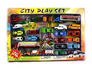 Metro Complete Urban City 32 Piece Mini Toy Diecast Vehicle Play Set, Comes with Street Play Mat, Variety of Vehicles