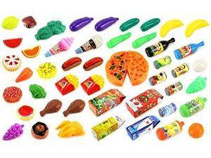 Deluxe Food Kitchen Collection 59 Pcs. Toy Food Playset w/ Assorted Toy Foods, Fruits, Vegetables, Etc