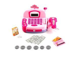 Pretend Play Electronic Cash Register Toy Realistic Actions & Sounds (Pink)