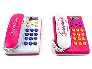 Fashion Angel Twin Telephones Wired Intercom Children's Kid's Toy Telephone Set w/ 2 Telephones, Ringing Sound, Talk to Each Other