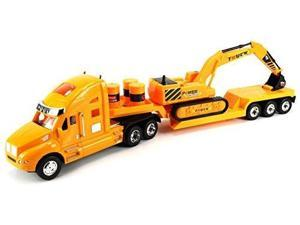 Heavy Construction Semi Trailer Remote Control RC Semi-Truck Ready To Run RTR w/ Removable Toy Excavator, Barrels (Colors May Vary)