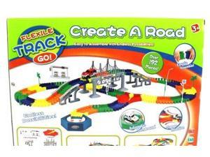 Flex Track Create-A-Road Deluxe 192 Piece Flexible Toy Track Playset w/ Battery Operated Toy Car , Accessories, Endless Fun and Combinations