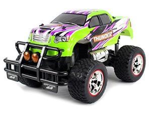 V-Thunder Pickup Big Remote Control RC Truck 1:14 Scale Size Lights & Music Series Ready to Run w/ Working Suspension, Spring Shock Absorbers (Colors May Vary)