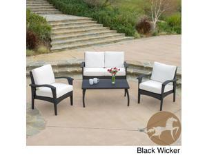 Christopher Knight Home Honolulu Outdoor 4Pcs Wicker Seating Set & Cushions