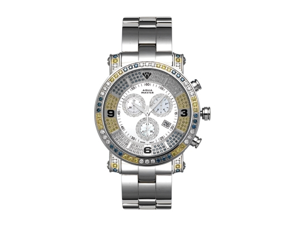 Aqua Master Men's Diamond Power Watch with One Row Yellow White and Blue Diamond Bezel, 3.60 ctw