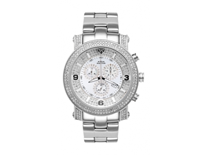 Mens Stainless Steel Power Watches with 2 Row Diamonds Full Case 18-3 w#101F