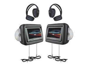 Power Acoustik HDVD-9BK 8.8-Inch Pre-Loaded Universal Headrest Monitors with Twin DVD Combo and Headphones (Black)