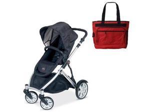 Britax BSTRBLKBAG  B-Ready Stroller - Black with a Red Diaper Bag